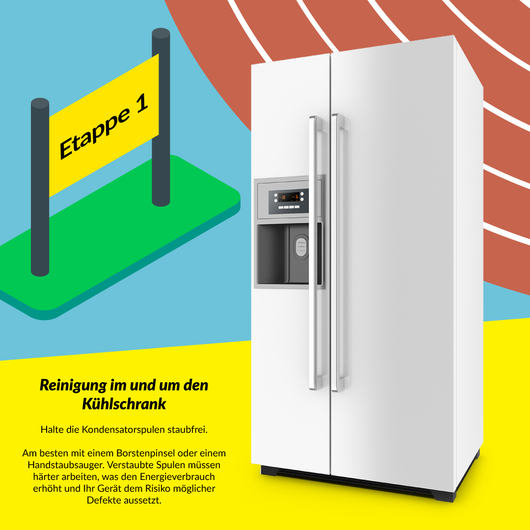 Reinigung im und um den Kühlschrank
